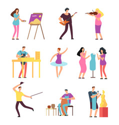 Cartoon artists and musicians isolated vector