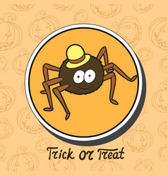 cartoon cute spider in hat vector image