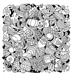 Cartoon doodles happy thanksgiving day vector