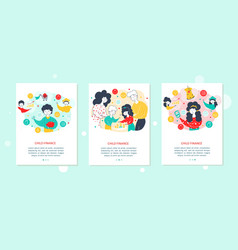 child and family finance web banner template set vector image