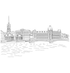 city sketching on white background stockholm vector image