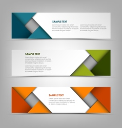Collection banners with abstract colored triangles vector image