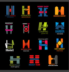 Company corporate identity trendy h icons vector