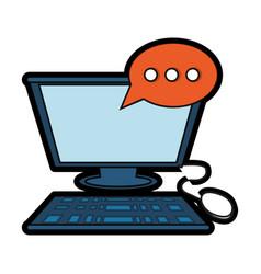 Computer with speech bubble icon vector