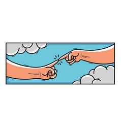 Creation adam cartoon style humorous classical vector