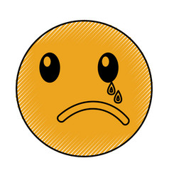 Crying emoticon face kawaii style vector