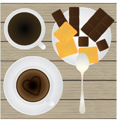 Cup of coffee Saucer Teaspoon Chocolate Cookies vector image
