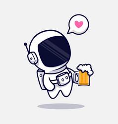 Cute astronaut drinking beer cartoon icon flat vector
