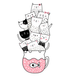 Cute baby cat with cup hand drawn style for vector