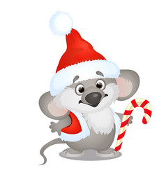 cute koala bear in hat of santa claus with sweet vector image