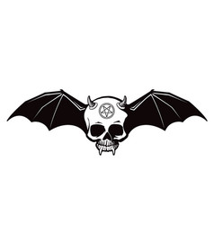 demon skull with bat wings icon vector image