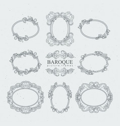 Detailed vintage frames in baroque style vector