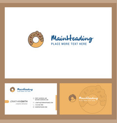 doughnut logo design with tagline front and back vector image