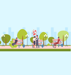 Elegant couple dancing city urban park happy vector