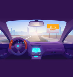 Empty car interior inside with gps on dashboard vector