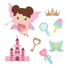 Fairy with magic design elements fairy with magic vector