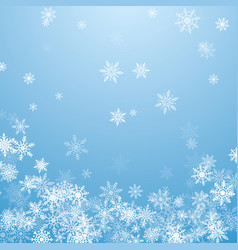 Falling white snowflakes on blue background blue vector