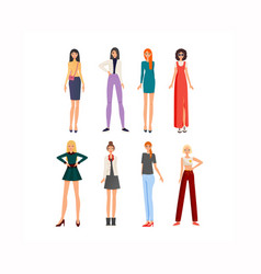 fashionable modern girl in beautiful multi-colored vector image