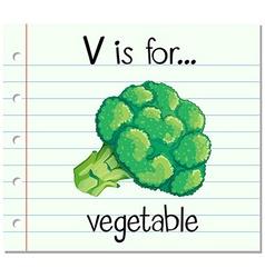 Flashcard letter V is for vegetable vector