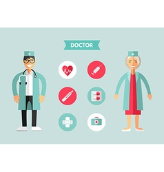 Flat Design of Doctor with Icon Set Infographic vector