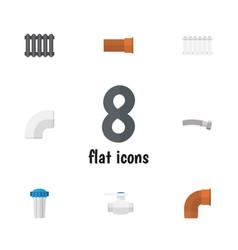 flat icon pipeline set of heater radiator iron vector image