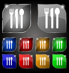fork knife spoon icon sign Set of ten colorful vector image
