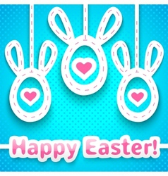 Funny easter card with big-eared eggs vector