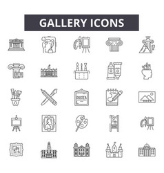 gallery line icons signs set outline vector image