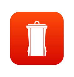 garbage bin icon digital red vector image