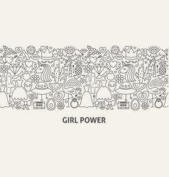 Girl power banner concept vector