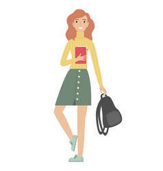 girl student with a backpack in his hands vector image