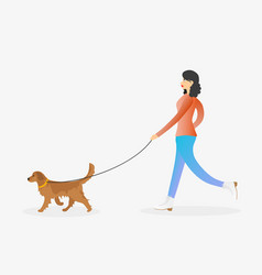 Girl walking the dog on leash vector