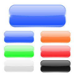 Glass rectangle buttons colored set vector