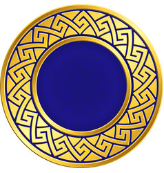 Golden round frame with greek meander pattern vector