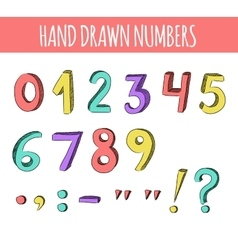 Hand drawn colorful numbers vector image vector image