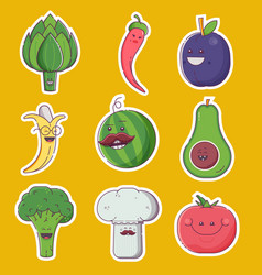 happy fruit and vegetable characters vector image