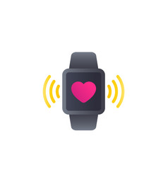 Heart monitor app icon with smart watch vector