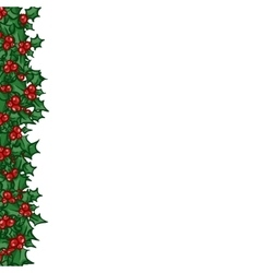 Holly with berry side border vector image