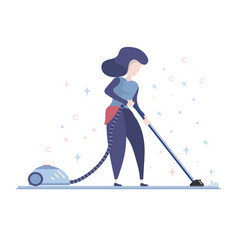 housewife using a vacuum cleaner vector image