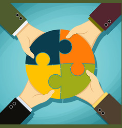 Human hands holding pieces of a puzzle vector
