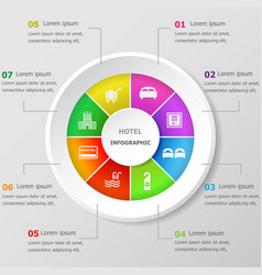 infographic design template with hotel icons vector image