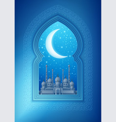 Islamic design window with mosque vector