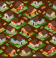 isometric houses in seamless pattern vector image