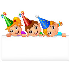 kids celebrating birthday party with holding blank vector image