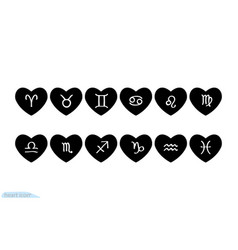 kit heart black icon love symbol zodiac signs vector image