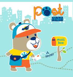 little bear animals postman cartoon vector image