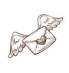 Love letter heart shaped seal and wings sketch vector