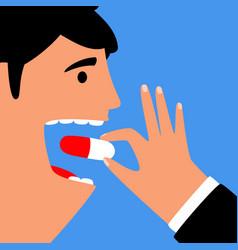 Man eating pill for health disease treatment vector