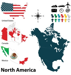 Maps with flags of North America vector image
