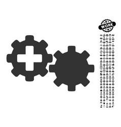 Medical process gears icon with job bonus vector